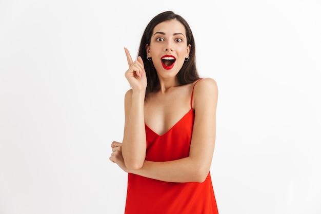 격리 된 포즈 흥분된 젊은 아름 다운 예쁜 여자의 이미지는 아이디어가 있습니다.