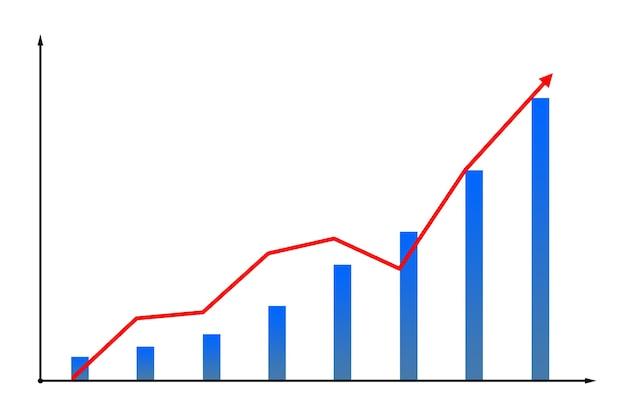 빨간색 성장 화살표와 막대 흰색 배경에 고립 된 차트에 금융 다이어그램 아이콘의 이미지