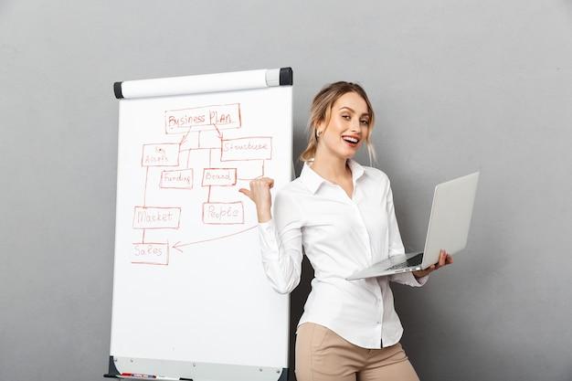 オフィスでプレゼンテーションをしながら、フリップチャートとラップトップを使用して正装で幸せな実業家の画像、分離