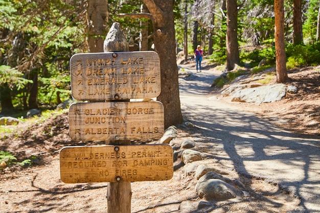バックグラウンドでハイカーと山の湖への道を導くハイキングサイントレイルヘッドの画像