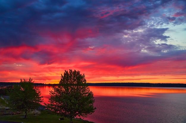 보라색, 빨간색 및 주황색의 생생한 색상으로 일몰 동안 나무가 있는 호수 이미지