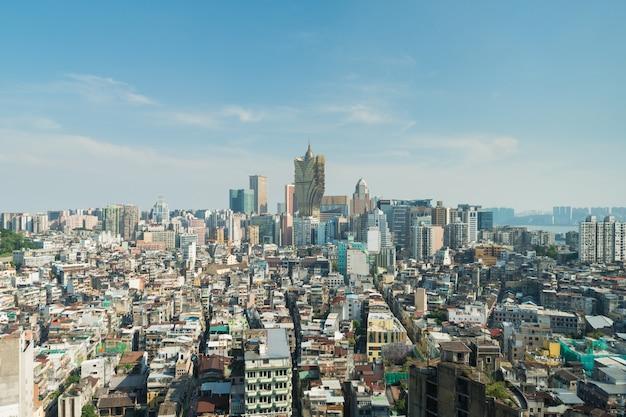 중국 마카오 (macao)의 이미지. 마카오 (마카오) 시내에서 초고층 호텔 및 카지노 건물.