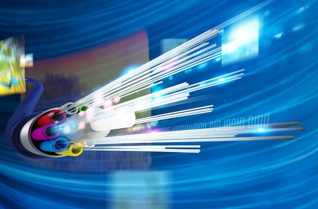 멀티미디어 배경이있는 광섬유 이미지