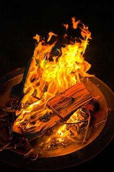 金属製のファイヤーピットで赤とオレンジ色の火が激怒する画像
