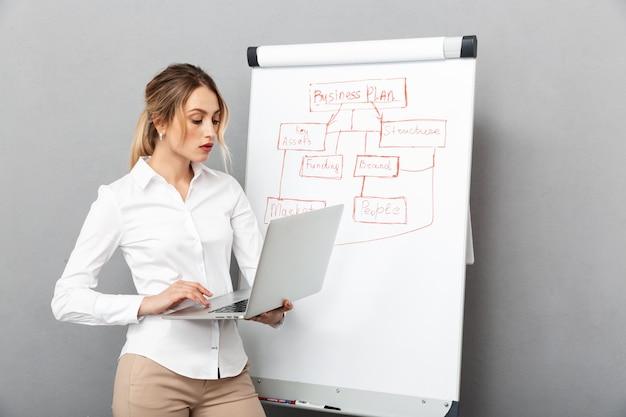 オフィスでプレゼンテーションをしながら、フリップチャートとラップトップを使用して正装で成功した実業家の画像、分離