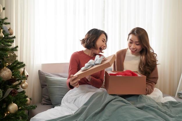 크리스마스 선물을 여는 놀란 젊은 여자 친구의 이미지