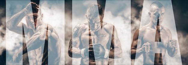 Изображение трех бойцов смешанных единоборств на задымленном фоне. бокс, кикбоксинг, тайский бокс. высокого качества