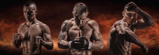 Изображение трех бойцов смешанных единоборств на огненном фоне. бокс, кикбоксинг, тайский бокс. высокого качества