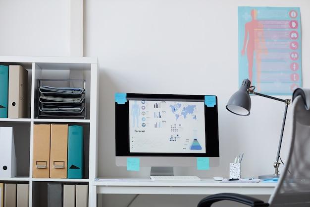 Изображение рабочего места с монитором компьютера и медицинскими плакатами на стене в офисе