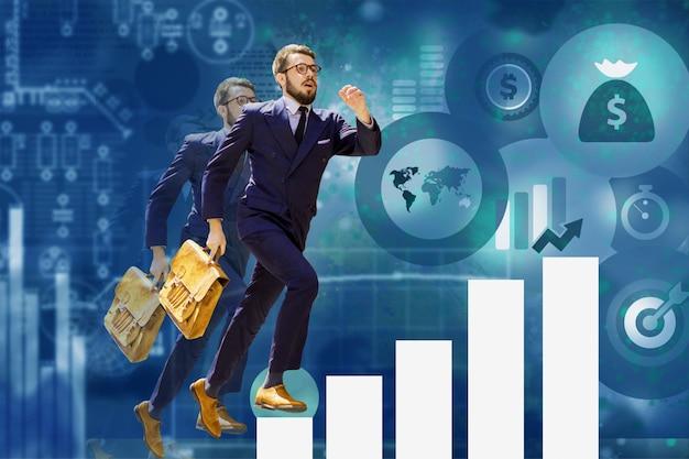 チャートやグラフのステップを飛び越える青年実業家の画像。キャリアの成功の概念