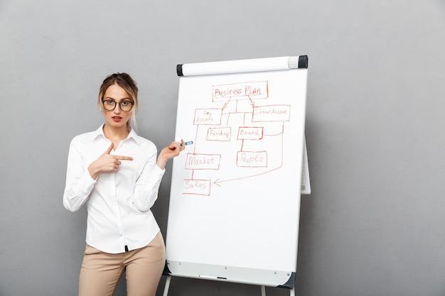 Изображение молодой деловой женщины в формальной одежде, стоящей и делающей презентацию с помощью флипчарта в офисе, изолированные