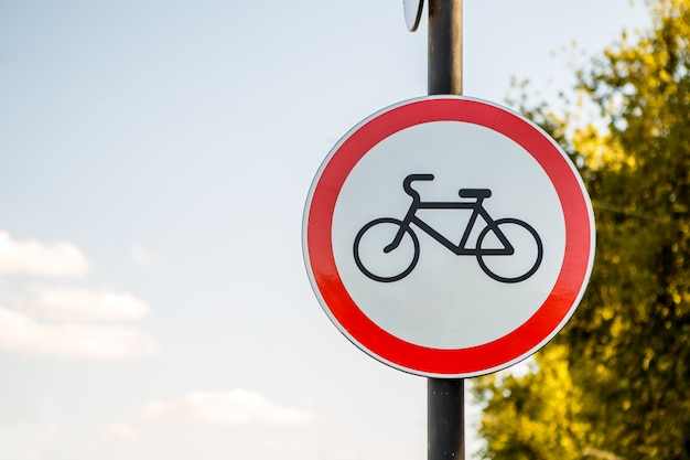 Image of red road bike sign