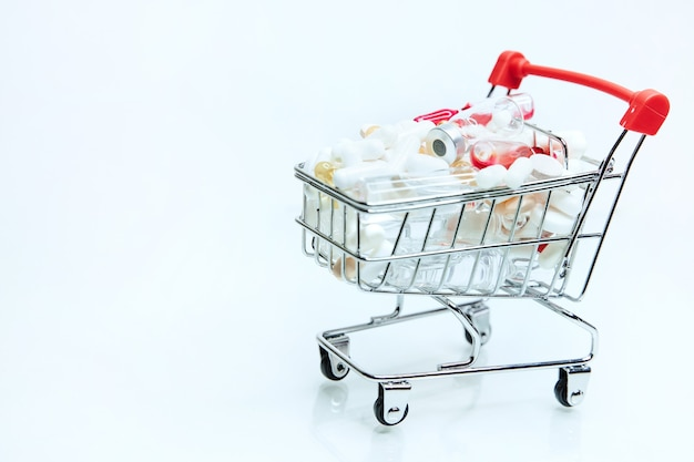Image of a shopping cart with various medications
