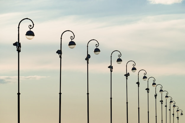 An image of street light on blue sky