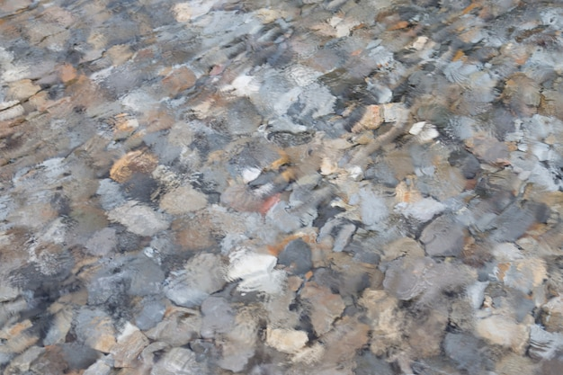 Image of surface water with rocks underwater background