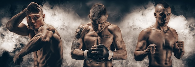 Image of three mixed martial arts fighters against a smoky background. boxing, kickboxing, muay thai concept. high quality