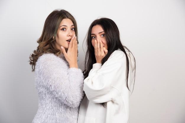 Immagine di due migliori amici in piedi insieme e guardando la telecamera sul muro bianco.