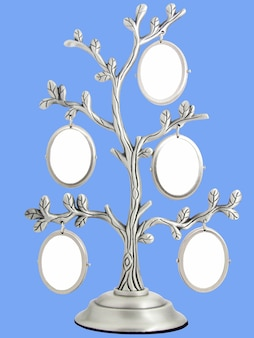 Image of vintage antique classical frame of family tree isolated on blue