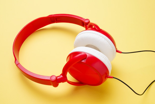 Image of white and red headphones