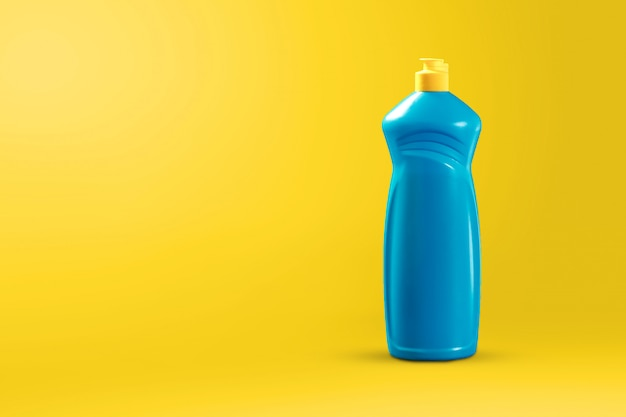 Image with cleaning agent for cleaning on a yellow background