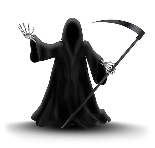 Image with grim reaper on white background