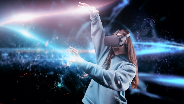 Image of a woman in virtual reality. vr glasses