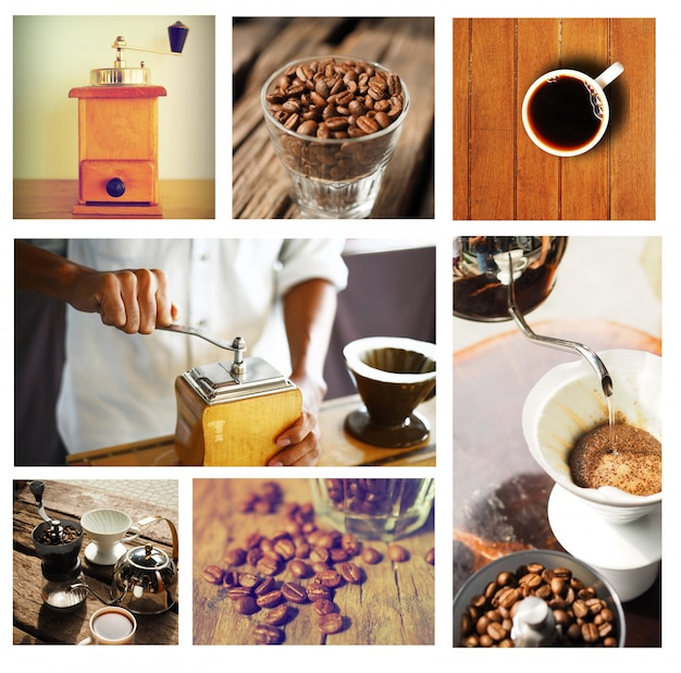 Immagini di tazze di caffè disposti in una scatola