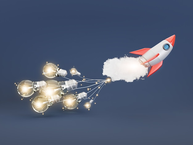 Imagination idea concepts with rocket and light bulb