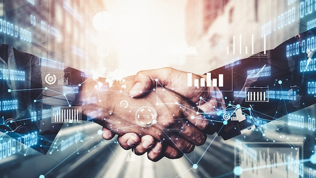 Imaginative visual business handshake with computer graphic of investment data