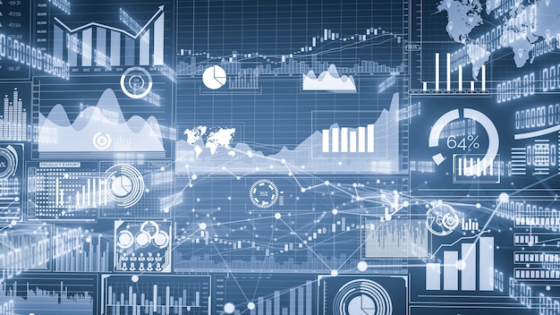 ビジネスデータと財務数値のグラフィックの想像力豊かなビジュアル