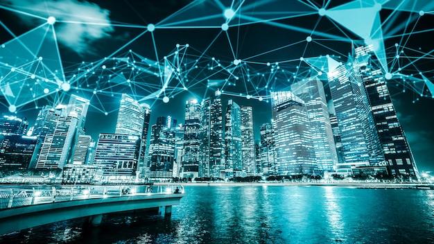 연결 네트워크를 보여주는 세계화 추상 그래픽이있는 상상력이 풍부한 시각적 스마트 디지털 도시