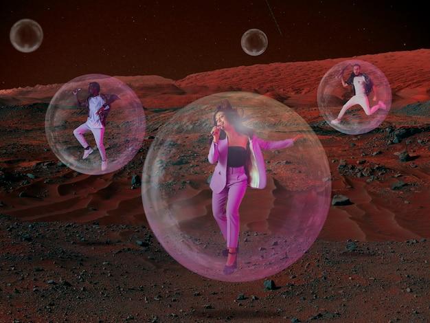 人々が火星に住んでいると想像してみてください。放棄された惑星の風景、火星の生命の美しさをクローズアップします。保護酸素チャンバー内のプロのミュージシャン、バブル。新しい空間での生活の探求。