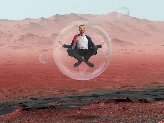 Представьте, что люди живут на марсе. крупным планом - заброшенная планета. красота жизни на марсе.