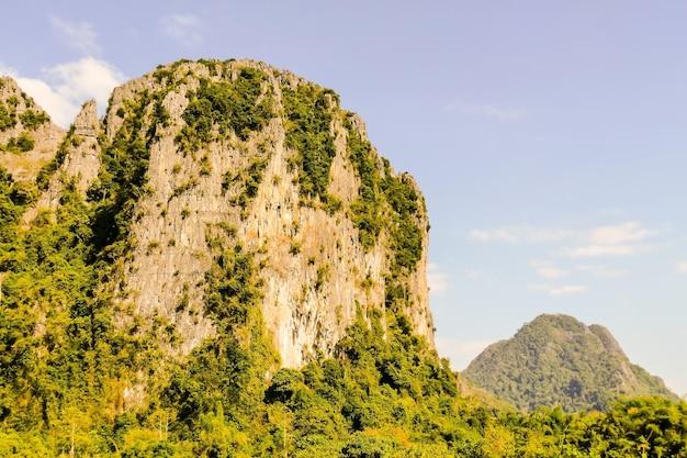 정글의 무성한 초목으로 덮인 거대한 절벽