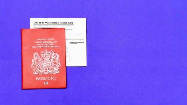 여행자, 외국인, 시민이 탑승 허가를 받기 위해 바이러스 발생을 방지하기 위해 빨간색 여권 및 covid-19의 공인 면역 기록의 출입국 보안 증명.