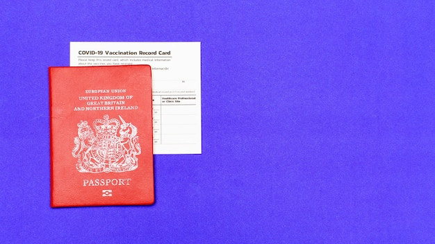 Immigration security proof of red passport and certificated immunity record of covid-19 vaccinated for traveler, foreigner, citizen to get aboard permission to prevent virus outbreak.