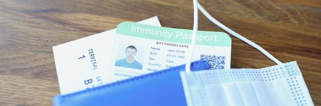 면제 여권과 비행기 티켓이있는 보호 의료 마스크가 테이블 여권에 있습니다.