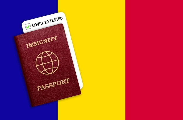 Immunity passport over the national flag of andorra.