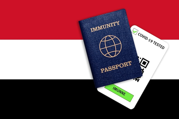 Immunity passportfor traveling after pandemicand test result for covid on flag of yemen