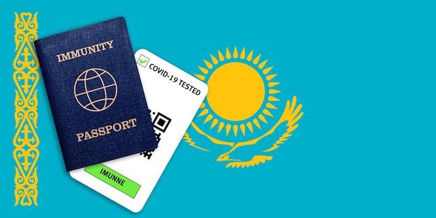Паспорт иммунитета для путешествия после пандемии и результат теста на covid на флаге казахстана