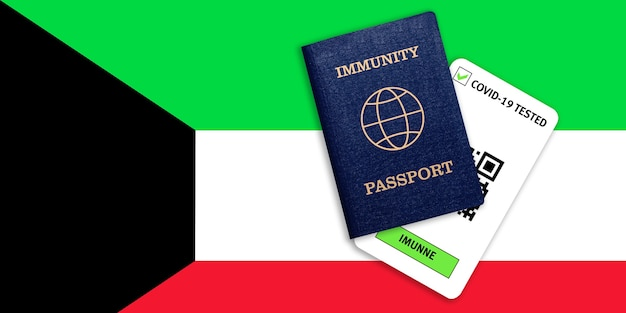 Паспорт иммунитета для путешествий после пандемии и результат теста на covid на флаге кувейта