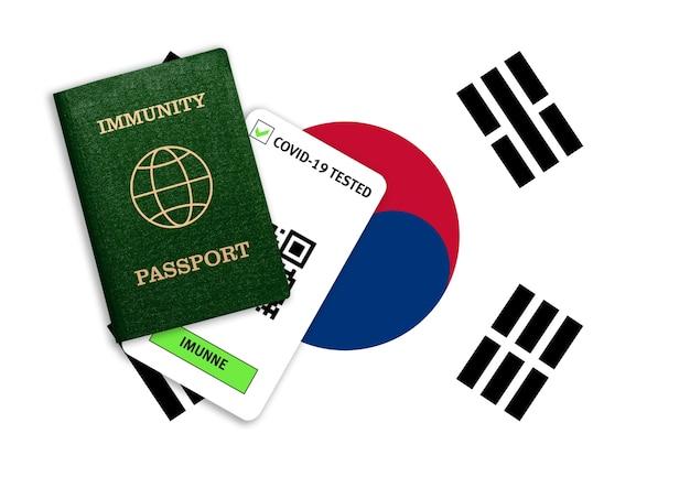 대유행 후 여행을위한 면제 여권 및 대한민국 국기의 covid 검사 결과