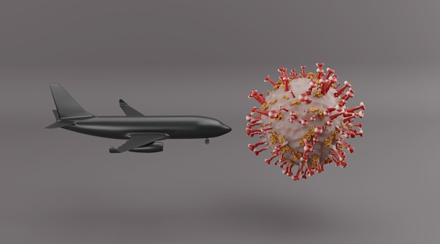 Impact of covid-19 on the world's aviation and tourism industry 3d rendering.
