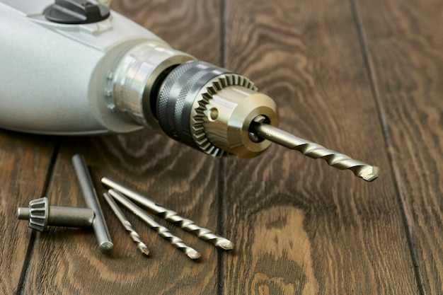 Impact drill and drill bits for concrete close-up, small depth of sharpness