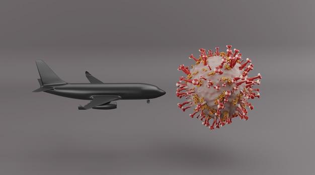 Covid-19が世界の航空および観光産業の3dレンダリングに与える影響。