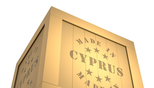 Import - export wooden crate. made in cyprus. 3d illustration
