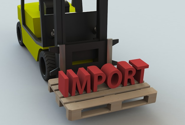 Import, message on wooden pillet with forklift truck, 3d rendering