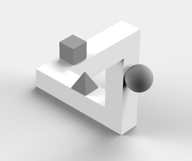 불가능한 기하학적 그림입니다. 착시 3d 일러스트