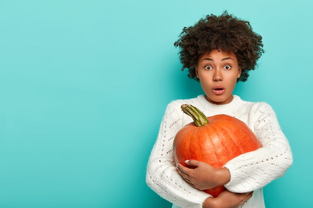 Impressed curly haired woman looks surprisingly at camera, embraces big pumpkin, holds breath from wonder, poses against blue wall, blank space on left side