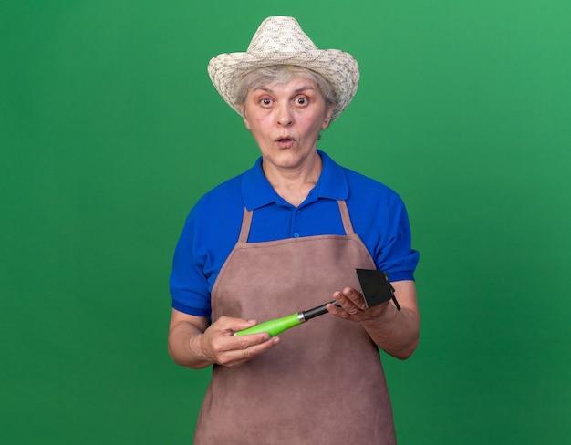 복사 공간이 있는 녹색 벽에 격리된 괭이 갈퀴를 들고 원예용 모자를 쓴 노인 여성 정원사